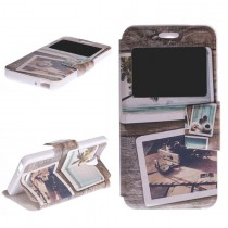 Funda compatible Alcatel Pop 4 Cartera Ventana Madera Fotos