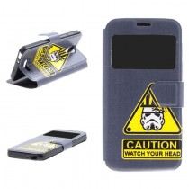 Funda compatible Alcatel Pop 4 Cartera Ventana Caution