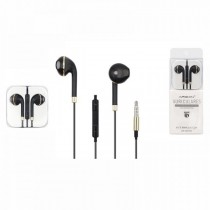 Auriculares Negros con borde Dorado compatible con Android y iPhone