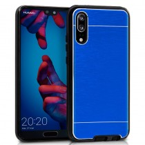 Funda compatible Huawei P20 Ultrathin Transparente Borde Azul