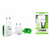 Cargador Red USB 2.1A Blanco Luz Led (sin cable)