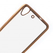 Funda compatible Huawei Ascend Y6 Ultra Thin Transparente Borde Oro