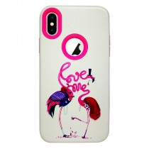 Funda compatible iPhone X Love Pelicanos 2 en 1