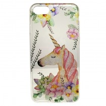 Funda compatible iPhone 7 / iPhone 8 Gel Transparente Unicornio Flores