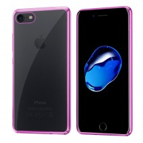 Funda Silicona con Bordes Metalizados Para iPhone Xs Max Rosa