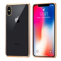 Funda Silicona con Bordes Metalizados Para iPhone X/Xs Dorado