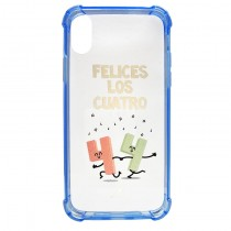 Funda compatible iPhone X Transparente Anti Shock Felices