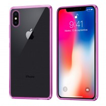 Funda Silicona con Bordes Metalizados Para iPhone X/Xs Rosa
