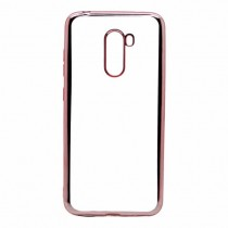Funda Silicona con Bordes Metalizados Para iPhone XR Rosa oro