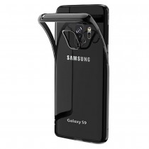 Funda compatible Samsung Galaxy S9 Gel Transparente Borde Gris Espacial