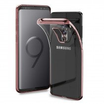 Funda compatible Samsung Galaxy S9 Gel Transparente Borde Oro Rosa