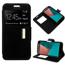 Funda compatible Vodafone Smart N8 Cartera Ventana Negra